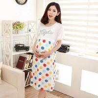 2015夏季时尚圆点字母图案女款短袖孕妇月子服睡裙 免费代理 一件代发