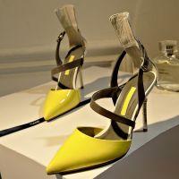 欧美凉鞋酒杯跟漆皮高跟鞋包跟真皮女鞋尖头浅口低帮拼色凉鞋女鞋