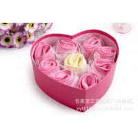 批发情人节情侣毛巾礼盒,蛋糕毛巾礼盒,超细纤维毛巾玫瑰花