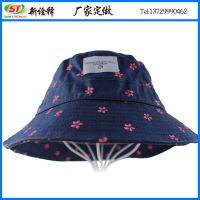 帽子厂定制韩版简约时尚户外儿童渔夫帽 粉色小碎花宽边漁夫帽子