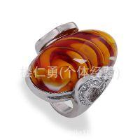 2015欧美流行戒指树脂琥珀女戒保色电镀 义乌厂家直销批发