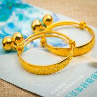 欧币黄金首饰 黄铜镀24K黄金手镯小孩手镯手环久不褪色 厂家直批