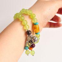 韩版多层绿水晶手链女款时尚泰银绿松石水晶手串长多圈天然手钏