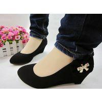 2013新款高跟坡跟中跟浅口单鞋黑色蝴蝶结舒适工作鞋妈妈鞋护士鞋