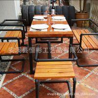 美式乡村复合实木餐桌组合电脑桌子创意铁艺书桌饭桌餐厅餐饮咖啡