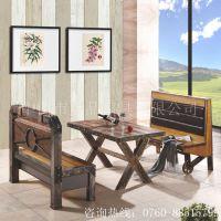 上品直销长沙SP-CT688英式餐厅实木四人位桌椅 复古双人位长椅 别墅花园户外桌椅
