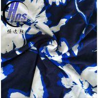 恒达胜供应32支人棉氨纶汗布印花 活性印花面料 夏日裙装热销面料