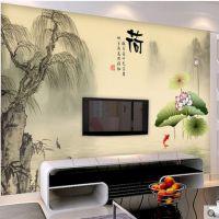厂家定制客厅电视背景墙 现代中式3d立体水墨荷花墙纸中国风无缝影视墙壁画