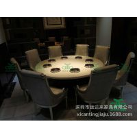 促销火锅店专用火锅桌椅 大理石钢化玻璃火锅桌火锅桌椅套餐组合