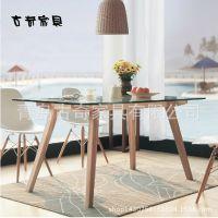 1.5实木餐桌白橡钢化玻璃桌面饭桌日式餐厅家具工厂直销一件代发
