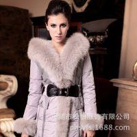 REUSE冬季新款羽绒服女 白狐狸毛领长款加厚收腰皮草 品牌羽绒服
