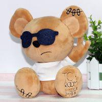 供应可爱墨镜小熊毛绒玩具 厂家直销可来图定制