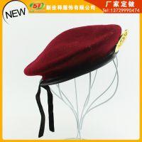 新款特价红色军人演出服装贝雷帽 舞蹈表演服饰搭配制服表演帽