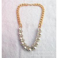 欧美夸张项链 时尚珍珠首饰锁骨链镶钻项饰毛衣链厂家批发