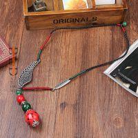 百莉朵 天然石陶瓷手工制作长绳挂件配饰 女长款时尚毛衣链批发
