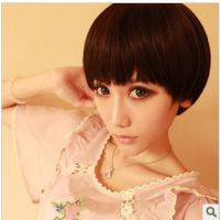 假发女生短发甜美可爱蘑菇头西瓜头蓬松厚刘海齐刘海方脸圆脸适合