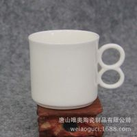 厂家批发供应陶瓷杯 骨质瓷数字杯8把水杯 可定制logo创意礼品杯