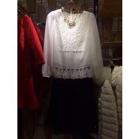 2015欧洲站春款时尚圆领蕾丝边纯色长袖雪纺衫蕾丝衫2151010340