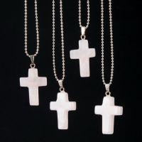 新款 速卖通 欧美 外贸饰品 镀金 粉水晶 十字架 天然石 水晶项链