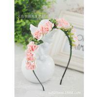 韩式玫瑰花环新娘伴娘儿童花童写真头饰海边度假拍照道具