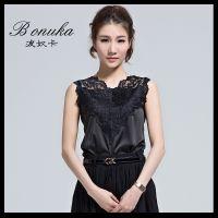 新款韩版蕾丝衫无袖上衣t恤女夏 修身显瘦套头V领蕾丝花边打底衫