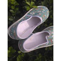 供应老妈咪简约夏季棉布手工千层底浅口布鞋绿色热销单鞋