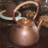 新款加厚紫铜壶日本大铜壶烧水壶 仿古纯铜铸纯手工老铜壶茶具