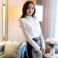 2015新款韩版修身钉珠蕾丝打底衫 (送吊带)