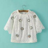 2015夏装新款韩版女装手工钉珠圆领打底衫上衣白色蕾丝衫短款