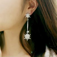 日韩版 来自星星的你千颂伊同款雪花长款流苏闪钻耳坠 女