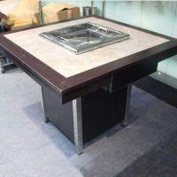 广东火锅桌定做 古典中式风格大理石火锅桌 自助烤涮一体桌