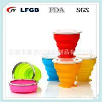 出口FDA标准硅胶折叠杯 500ml折叠杯 便携旅行折叠水杯 伸缩杯