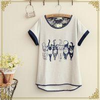 2014新款 森女系 日系 可爱小猫印花蝙蝠袖宽松短袖T恤 女装批发