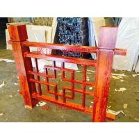广州景区不锈钢标识牌烤木纹漆 栏杆凉亭镀锌铁管喷木纹漆