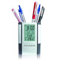 创意多功能万年历时钟笔筒 办公电子商务礼品 可印LOGO