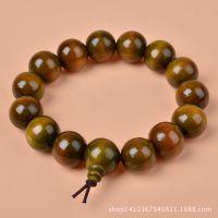 天然正品印尼15mm仿绿檀佛珠手链 民族风精品念珠手串批发