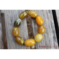 4级天然巴西黄玛瑙圆珠手链 天然石玛瑙手饰批发 绿玉髓散珠批发