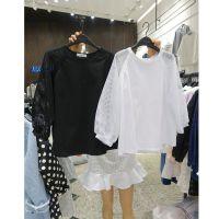 韩国东大门代购2015春夏新款T恤打底衫女网格长袖拼接T恤女4031