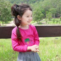 2015春夏外贸女童装小蘑菇长袖棉T恤卡通印花儿童宝宝长袖打底衫