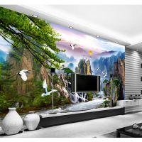 中式现代山水远景壁画 田园壁纸 大厅客厅书房办公室背景墙纸墙布