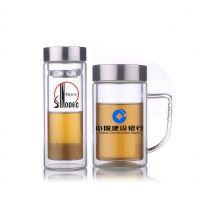 双层玻璃办公杯定制 企业周年庆典会议礼品杯定制 带手柄水晶杯 员工生日礼品