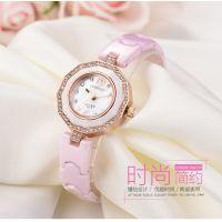 型号:8877 高档时尚潮流防水石英女士手表镶钻小表盘真陶瓷学生手表批发