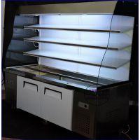 弧形玻璃麻辣烫点菜柜,漳州开放式冒菜冷藏柜,自助火锅烧烤保鲜展示柜