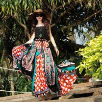 2015夏沙滩裙长裙波西米亚女高端雪纺裙子大码连衣裙长裙子女正品