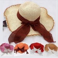 SNN-1652新款手工钩针镂空帽子礼帽飘带女士海边沙滩遮阳草帽