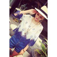 小银子2015夏装新款小清新刺绣舒适棉质蕾丝拼接上衣T6150