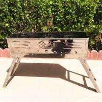 厂家直销 户外 便携式 会兴牌二代不锈钢折叠烧烤炉 舒适塑钢