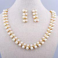 韩版珍珠首饰套装 春季百搭小套链批发  现货 项链/耳环