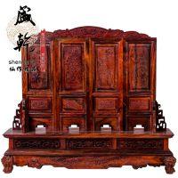 盛乾木雕 老挝大红酸枝迷你型屏风 高档仿古式红木桌面装饰摆件