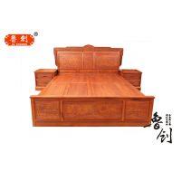汉宫大床定做红木家具款式图、红木家具市场、缅花成套家具价格